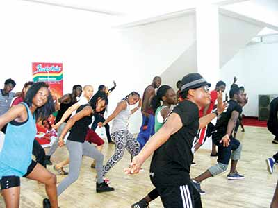 A cross-section of the dancers during the SPANFEST Art Workshop at SPAN Hub... in Lagos.