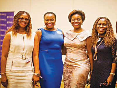 Left to Right: Adesuwa Onyenokwe Bukky George, Nike Adenowo and Tara Fela - Durotoye... stepping up for WIMBIZ 2015