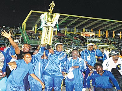 Delta athletes celebrate after winning EKO 2012 National Sports Festival under the tenure of Amaju Pinnick. Seven candidates are jostling to replace him in Delta Sports Commission.