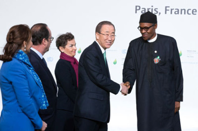 President Muhammadu Buhari (right), UN Secretary General, Ban Ki Moon, French President, François Hollande (second left) and other officials at the opening of the climate change conference in Paris, France