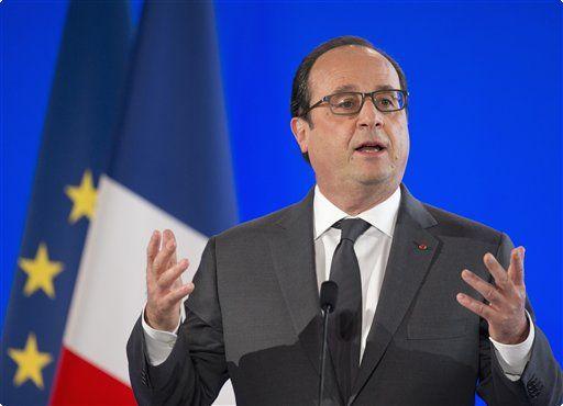 French President Francois Hollande speaks at the French Embassy in Washington, Tuesday, Nov. 24, 2015. Photo; readingeagle