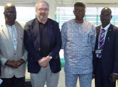 Second left; Prof. Mark Erbaugh, Ohio State University. Gov. Olusegun Mimiko, and Provost Adeyemi College of Education, Ondo Prof. Olukoya Ogen.