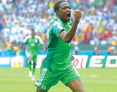 Ahmed Musa celebrates after scoring against Argentina during Brazil 2014 FIFA World Cup Group F match on June 25, 2014. He is excited over interest by Leicester City.            		                Photo: AFP