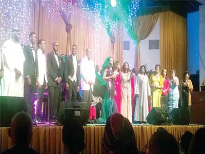 All the performers taking a bow after the concert