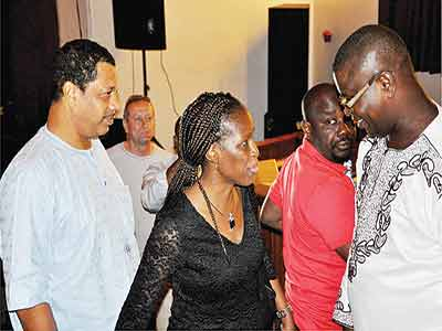Dr. Olakun Soyinka (left); Mrs. Toyosi Alabi and film director, Mr. Dapo Adeniyi at the screening… in Lagos