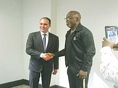 FIFA Presidential candidate, Prince Ali bin Hussein (left), with NFF President, Amaju Pinnick, at the Murtala Mohammed Airport, Ikeja…yesterday. PHOTO: CHRISTIAN OKPARA