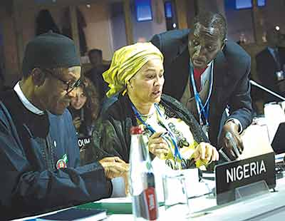President Mohammadu Buhari with Minister of Environment, Mrs Amina Ibrahim Mohammed and National Security Adviser Maj. Gen. Babagana Monguno Rtd shortly before addressing the UN Climate Change Conference COP 21, in Paris, France, recently