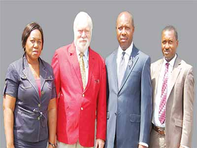 Angela Ikade, of Paul Osuji &Co(left)., the Instructor, Leslie H. Miles, Mr. Kelivin Ofili at one of the sessions… recently