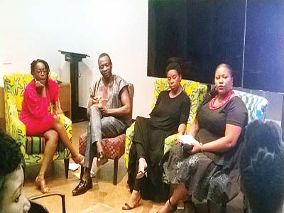 Celebrated artist, Peju Alatise (left); African Artists' Foundation and founder of Female Artists Platform, Mr. Azu Nwagbogu; LifeHouse and Zebra Living, Mrs. Ugonma Adegoke and broadcaster, writer and moderator, Ms Wana Udobang at Art Africa Forum discussing 'Where Are the Women in Visual Arts?' weekend… in Lagos