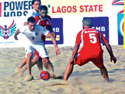 England battling with Lebanon in one of the matches of the COPA Lagos Beach Soccer Championship, which ended at the Eko Atlantic Beach… yesterday.