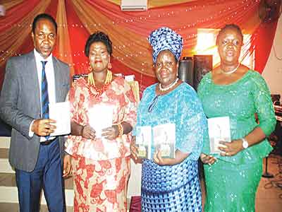 Pastor Yinka Akinsanya; the author, Mrs. Ronke Adeyemo; Mrs. Mojisola Akinhanmi and Mrs. Bisi Adebayo at the unveiling of two books: The Beauty of Worship and The Parable of the Two Sleeping Women written by Adeyemo to celebrate her birthday recently… in Lagos