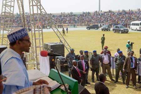 Buhari speaking at the Kaduna Annual Music Festival on Saturday