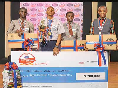 First runner-up, Wajul Kareem of Abibat Mogaji Millennium Senior Secondary School, Agege (left); first prize winner, Anthony Ike-Okoro of Top Grade Secondary School, Surulere; second runner-up, Samuel Joseph, also of Abibat Mogaji Millennium Senior Secondary School and Jude Chineke of Great Esteem Secondary School, Surulere, during the event.