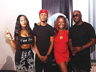 Victoria Kimani, Reminisce, a guest and Tola Odunsi at the event.
