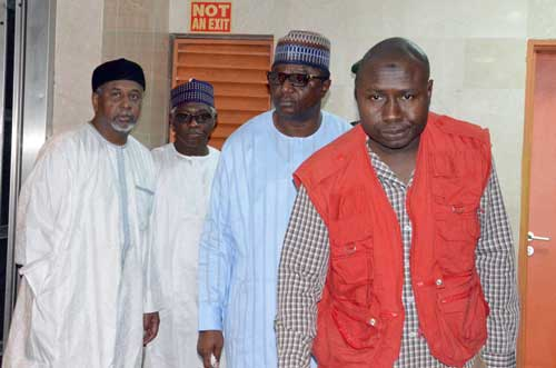 Former National Security Adviser, Col. Sambo Dasuki (rtd) (left); ex-director of Nigerian National Petroleum Corporation (NNPC), Alhaji Aminu Babakusa and Director of Finance and Administration of the Office of the National Security Adviser, Alhaji Shuaibu Salisu at the Abuja High Court …yesterday. PHOTO: LADIDI LUCY ELUKPO.