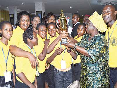 The jubilant Anambra Team with Ogun State Deputy Governor, Mrs. Yetunde Onanuga at the event.