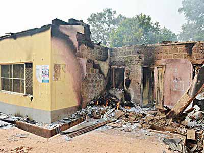 The Independent National Electoral Commission's (INEC) office in Dekina local council of Kogi State razed by suspected arsonists early yesterday.	        PHOTO: NAN