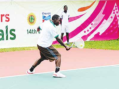 Sylvester Emmanuel caused the first upset at the on-going Governor's Cup Lagos Tennis Championship by beating U.S.A's Anderson Reed.