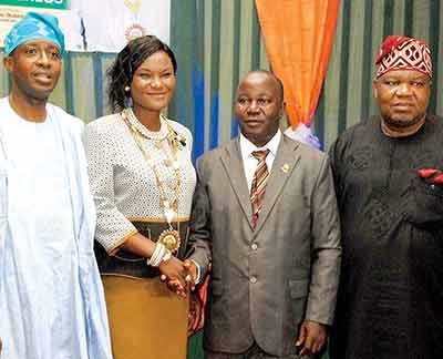 Council Member, Council for the Regulation of Engineering in Nigeria, Ayo Fanimokun (left); newly elected Chairman, Nigerian Institution of Mechanical Engineers (NImechE), Funmi Akingbagbohun; immediate Past Chairman, Amos Komolafe and Group Managing Director/Chief Executive Officer, Tricontinental Group, Prof. Toyin Ashiru at the inauguration ceremony of Akingbagbohun as fourth Chairman of NImechE at Sheraton Hotel Ikeja, Lagos, recently              PHOTO: FEMI ADEBESIN-KUTI