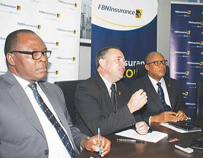 Chief Financial Officer, FBNInsurance Limited,  Izevbizua (left); Chief Operating Officer,  Johan Schalkwyk; Managing Director/CEO,  Valentine Ojumah; Chief Human Resource Officer, Emeka Dibia; during the company's media parley in Lagos