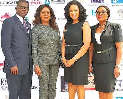 Mr. Sunny Oladipupo of OrbitalQ (left); Olanike Adesakin-Forsythe, Hollysaks Properties, UK; COO, OrbitalQ Properties, Oludayo Adeyinka; and Managing Director, Hollysaks Properties, Busayo Adepitan at the maiden Property Expo held in Victoria Island, Lagos…recently