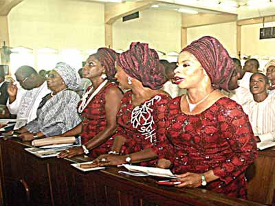 Picture left shows Dr Tunde Fowler, left; Dr (Mrs) Leila Fowler, Miss Irene Fowler, Mrs Rosemary Fowler, and Mrs Olufunke Fowler Amber at the funeral service of Prof Wensley Vidal Mobolaji Fowler in Lagos. Yesterday PHOTOS: CHARLES OKOLO