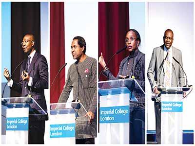 Guest speakers: Mr Aigboje Aig-Imoukhuede, left; Mr Tonye Patrick Cole, Dr Omobola Johnson and Mr Toyosi Olawepo-Hashim.