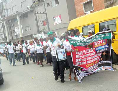 Members of Network of People Living with HIV and AIDS in Nigeria (NEPWHAN), Lagos Chapter during their Walk to Zero at Ikeja, Lagos state                                                                 PHOTO: TAYO OREDOLA