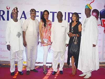 A guest (left), Senator Mamora, Mrs Ajayi and Dr. Ajayi, Chief Ogunlewe(right) with other guests at the launch.