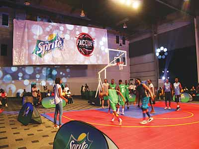Celebrities took to the basketball court during the Sprite Triple Slam held recently at the Landmark Event Centre, Lagos. PHOTO: FEMI ADEBESIN-KUTI.