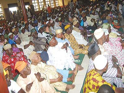 Muslims during Jumat service at Central Mosque, Enuwa, Ile –Ife… on December 4, 2015 as part of activities leading to the coronation of and presentation of staff of authority, last Monday, to Ooni of Ife, Oba Adeyeye Enitan Ogunwusi PHOTO: NAJEEM RAHEEM