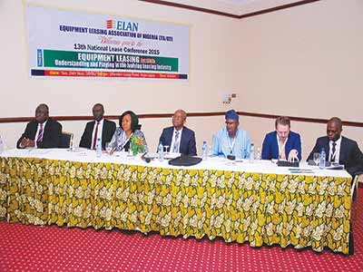Deputy Director, Other Financial Institutions Supervision Department, CBN, Ezewu Jonathan Gigin (left); International Finance Corporation; Assistant Director Legal,Federal Ministry of Finance, Mrs. Kate Okoli; Chairman Equipment Leasing Association of Nigeria (ELAN), Chuka Onwuchekwa; Director of Policy and Planning, National Automotive Design and Development Council, Luqman Mamudu; Team Leader, Enhancing Nigerian Advocacy for A Better Business Environment (ENABLE), Kevin Conroy and Chief Financial Officer, C&I Leasing Plc, Alex Mbakogu at the13th National Lease Conference organised by ELAN recently in Lagos.