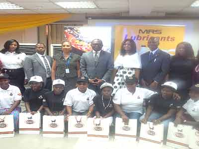 Company Secretary, MRS Oil Plc, Mrs. Kemi Jafojo (left), Executive Director, Finance and Admin; Andrew Gbodume; Managing Director, Paul Bissohong, (Middle) and other management staff, with participants at the opening ceremony of CSR Initiative in Lagos….recently.