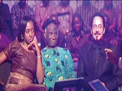 Pa Taiwo Akinkunmi flanked by Kate Henshaw (left) and T-Mac at one of the special editions of the show