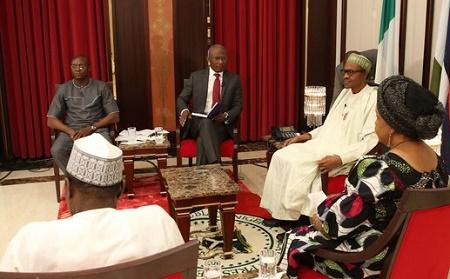 President Muhammadu Buhari, Mr Kayode Akintemi, Ibanga Isine ,Dr Ngozi Ayaegbeluman and Manir Dan Ali