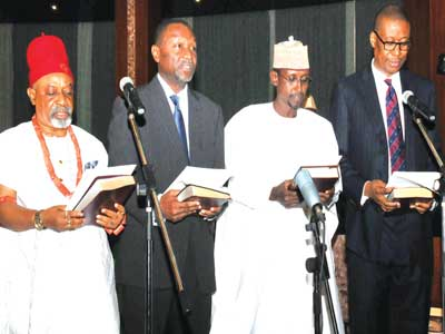A section of Federal Ministers during their swearing-in at the Aso Villa in Abuja PHOTO: NAN