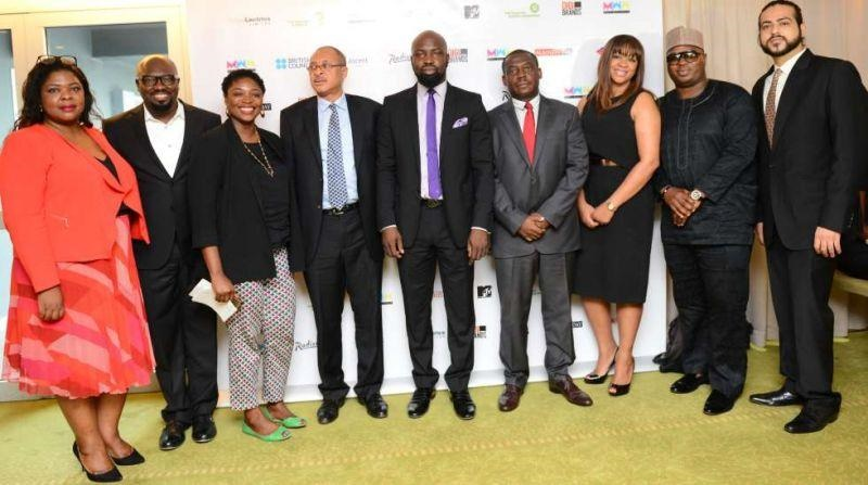 From Left to Right: Tori Abiola, Event Director; Henry Bassey, Director- Team Lead; Ojoma Ochai, Director, British Council Nigeria; Professor Pat Utomi; Audu Maikori, Founder/Director Music Week Africa; Oscar Onyema, CEO, Nigerian Stock Exchange; Leslie Kasumba, Director, Music Week Africa; Deji Awokoya, General Manager, Beat FM/Megalectrics and Raoul Sawhney, Director Digital at the press conference held on Friday, November 27th 2015.