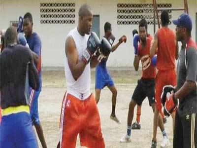 Nigerian amateur boxers in training... Okorodudu says regular competitions will aid their development.