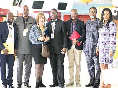 President of African Film Consortium Mykel Ajaere; Mr. Emeka Ossai, Chairman, Board of AFC, Mr. Soheir Kader; Vice President, West Africa for AFC, Mr. Victor Okhai; Mr. Mahmood Ali Balogun and producer, Ms Chinasa Onyechere after the AFC symposium… in Lagos