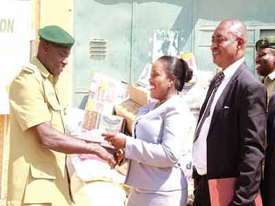 Chief Warder, Suleija Prison, Nyanmbee Gabriel (left), Public Relations Manager, Rockview Hotel, Amaka Ekeh and Chief Security Officer, Rockview Hotel, Okeye Desmond  during the visit