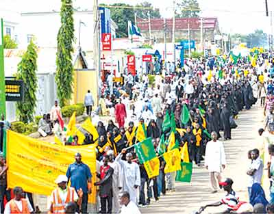 Members of the Islamic Movement of Nigeria (IMN), taking part in al Quds Day procession in support of Palestine, in Zaria, Kaduna State, 2014.