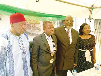 Provost, College of Fellow, Nigeria Computer Society (NCS), Deacon Ojinta Ojialala(left); President, NCS, Prof. Sola Aderounmu; Minister of Communications, Adebayo Shittu and Vice President, NCS, Mrs. Veronica Owolabi, during the foundation laying ceremony of NCS digital secretariat in Lagos.