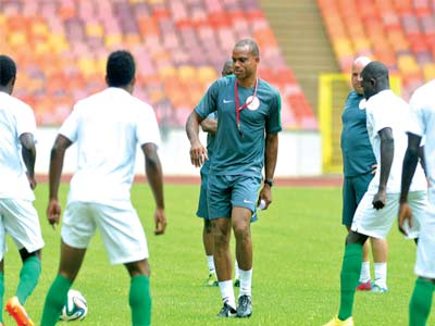 Super Eagles in training before a World Cup qualifier against Swaziland… last month.