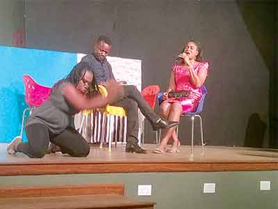 The Patters Heritage's dance and music arm, The Spirit and Truth group, Edna Konwea; Frank Konwea and Treasure Ben-Chiadika performing Wings before Two Face was staged