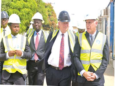 Chief Operating Officer for GE Nigeria, Ahmad Zakari (left); President and Chief Executive Officer, Dr Lazarus Angbazo; the U.S Ambassador to Nigeria, James Entwistle; and General Manager, Supply Chain, GE Africa, Jeffery Sommer, at the site of the GE manufacturing and assembly facility in Calabar.