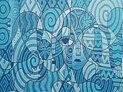 A painting titled Family Circle by Ademola Adeshina