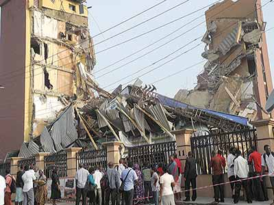 A collapsed building site in Lagos
