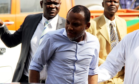 Nnamdi Kanu  at the magistrate Court in Abuja PHOTO: Ladidi Lucy Elukpo.