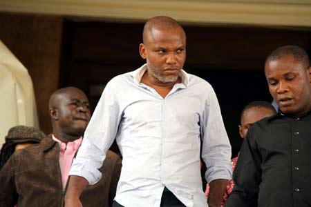Nnamdi Kanu at the Federal High Court Abuja for criminal charges PHOTO: Ladidi Lucy Elukpo.