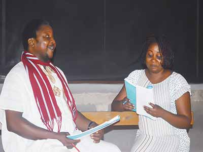 A rehearsal scene of the play